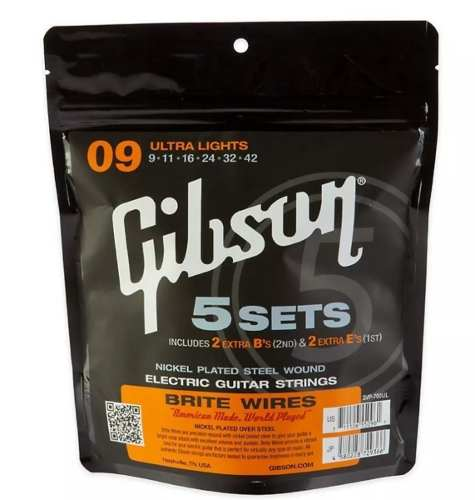 Pack Kit Set Encordoamentos Gibson Guitarra - 5 Jogos - 0.09