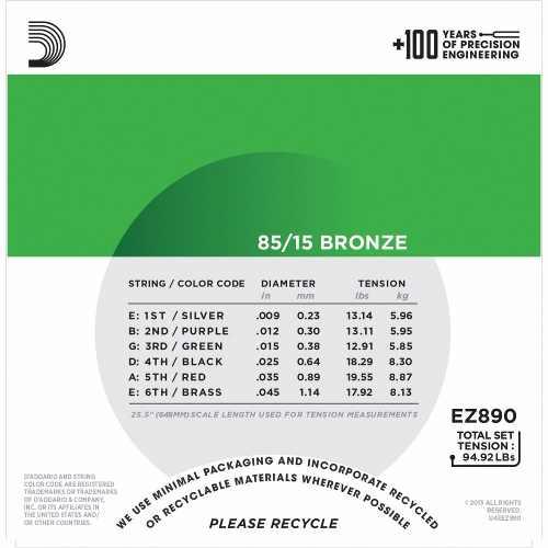 Encordoamento Violão D'addario 009 Ez890-b