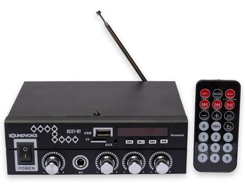 Amplificador Receiver Soundvoice Compacto Som Ambiente 60w Usb Bluetooth