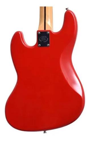 Baixo 4 Cordas Sx Sjb62 Fr Vermelho Com Bag Luxo