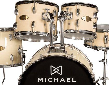 "Bateria Acústica Michael Audition Dm828n Natural Bumbo 22"""