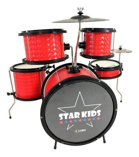 Bateria Infantil Profissional Luen Star Kids Vermelha