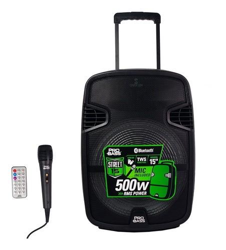 Caixa Som Portátil Probass Street 15pol com Bateria E Microfone