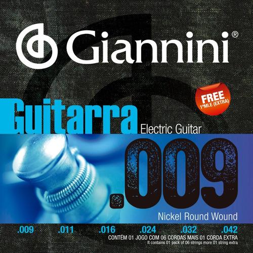 Encordoamento Guitarra Giannini 009 Mizinha Extra Geegst9