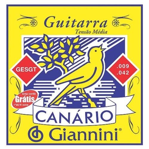 Encordoamento Para Guitarra Canário Aço 009 Gesgt9 Giannini