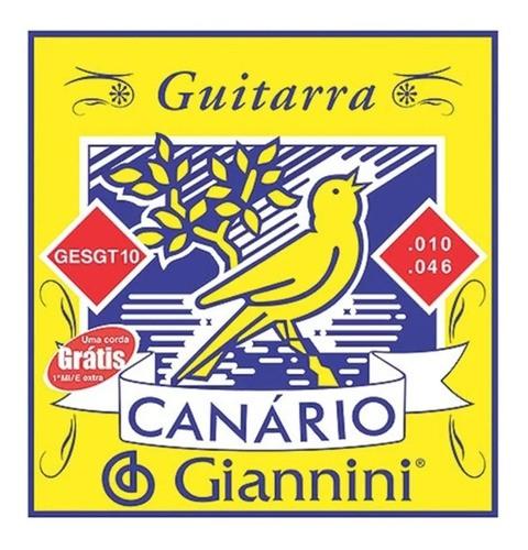 Encordoamento Giannini Para Guitarra Canário Aço 010 Gesgt10