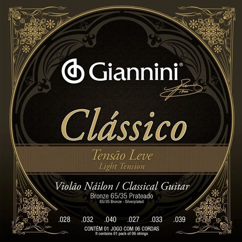 Encordoamento Para Violao Classico Giannini Leve Genwpl