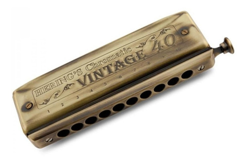 Gaita De Boca Hering Cromática Vintage 40 Vozes Dó C 1040c