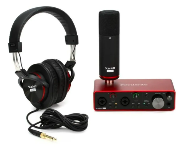 Kit Focusrite Scarlett 2i2 Studio - Interface Fone Microfone - 3rd Generation