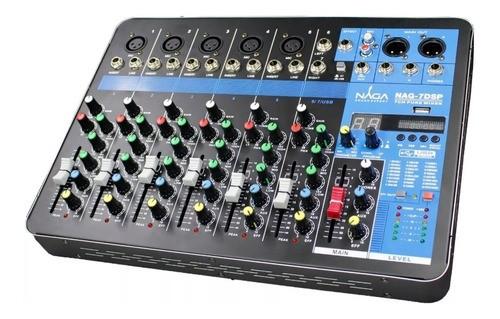Mesa De Som Naga Nag 7dsp Phantom Power 7 Canais Bluetooth