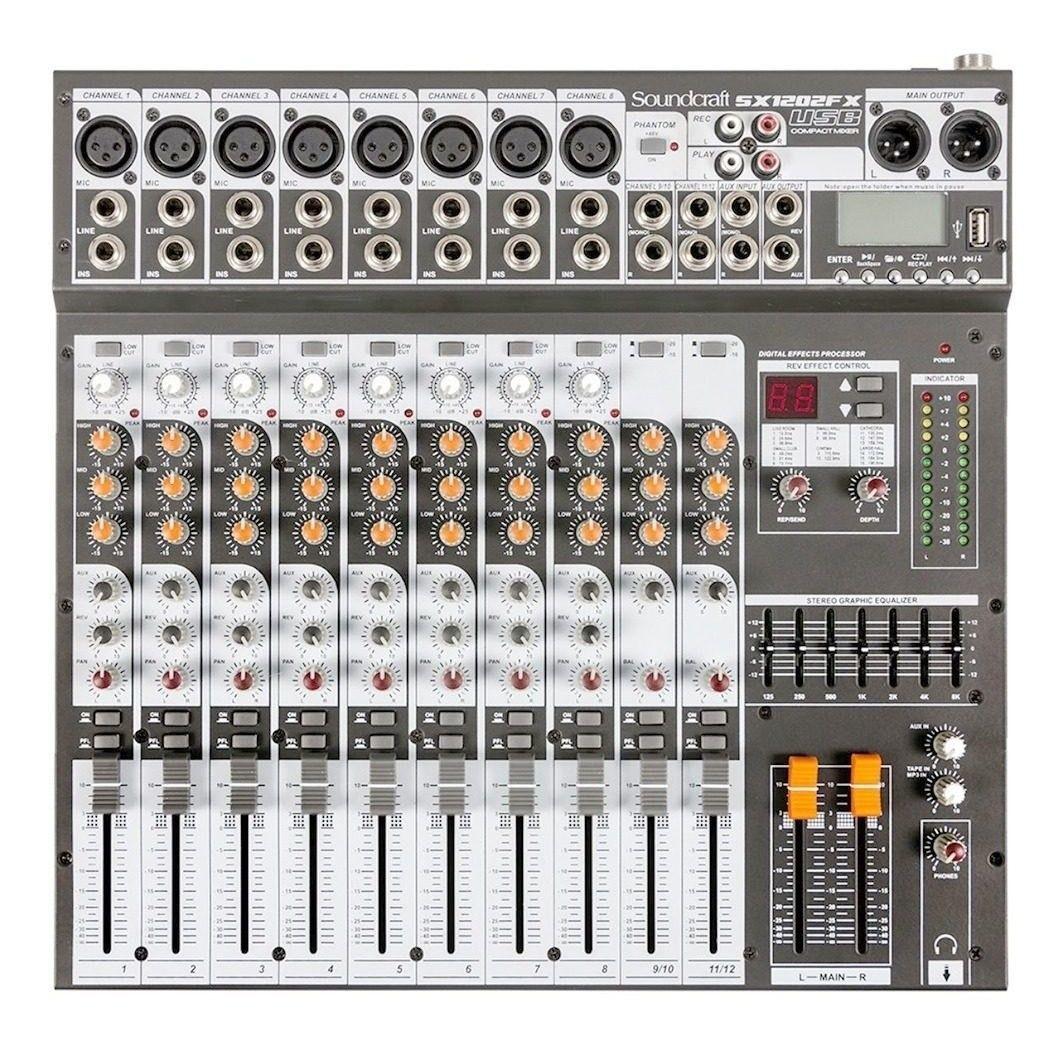 Mesa de Som Soundcraft Sx1202fx Usb Com Efeitos E Usb