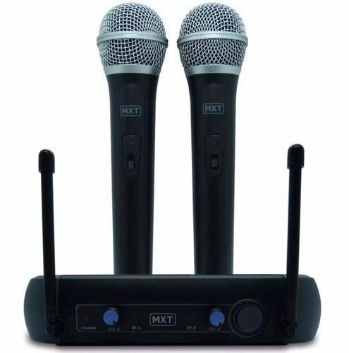 Microfone Mxt Uhf 202 sem fio Duplo