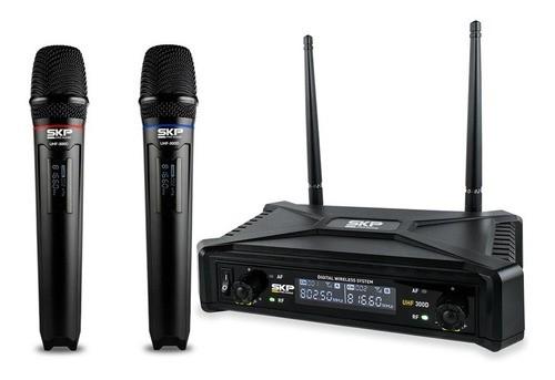 Microfone Profissional Duplo Sem Fio Uhf Cardioide Skp 300d
