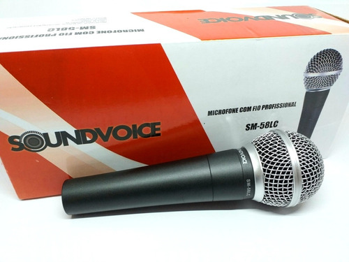 Microfone Dinamico Soundvoice Sm-58lc Com Fio Profissional