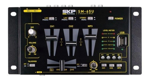 Mixer 3 Canais Skp Sm-65u Com Mp3 Player