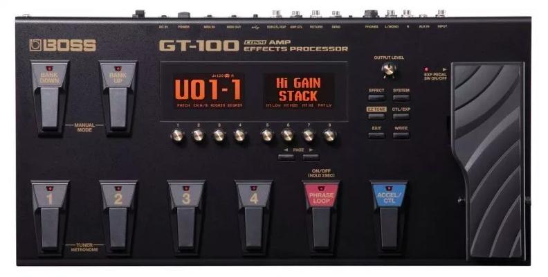 Pedaleira Multiefeitos Boss para Guitarra Gt100