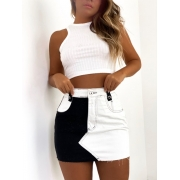 Saia Jeans Duo Color (Branco + Preto)