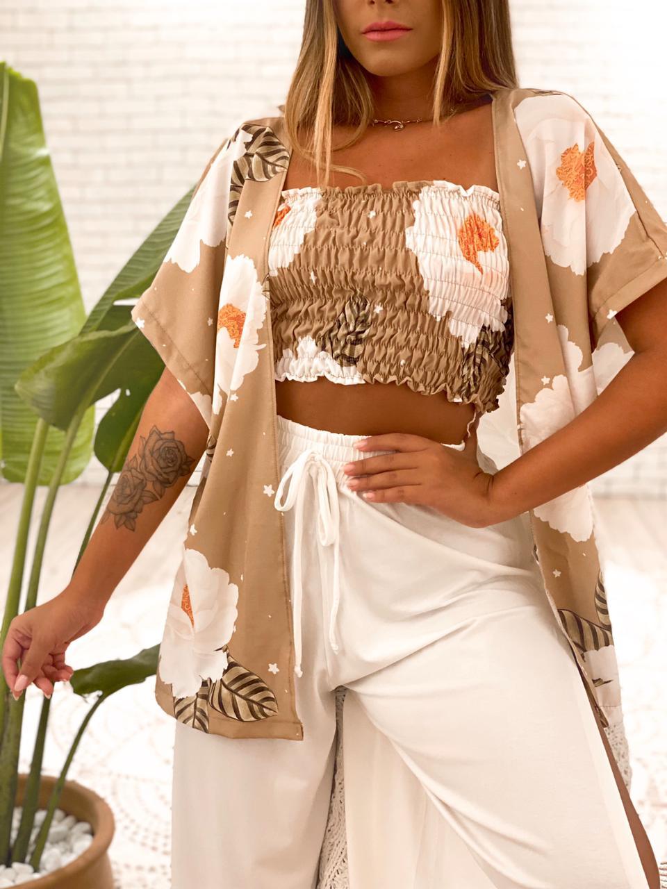 Conjunto Margarida (Top + Kimono)