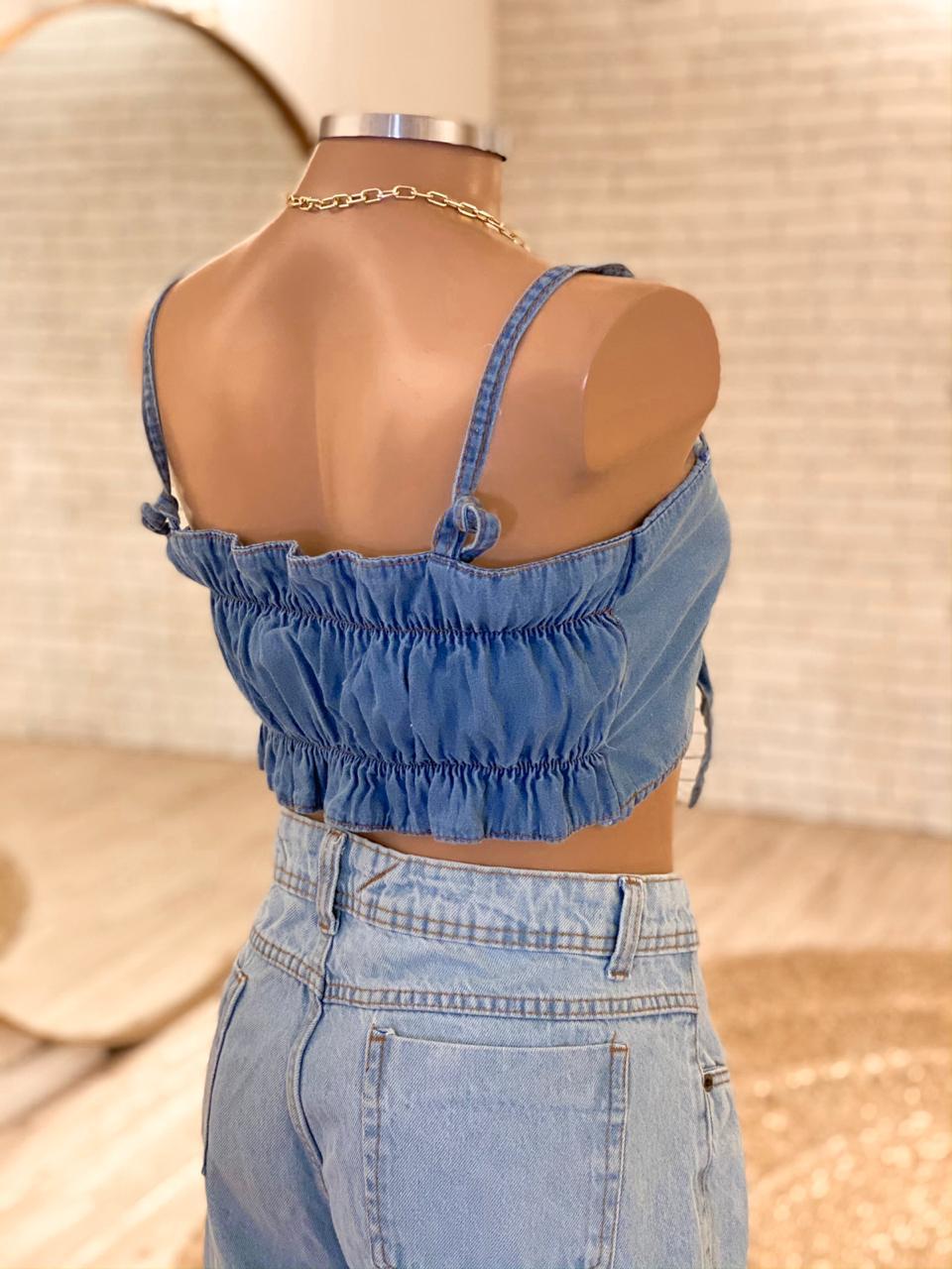 { Cropped Jeans Laço }