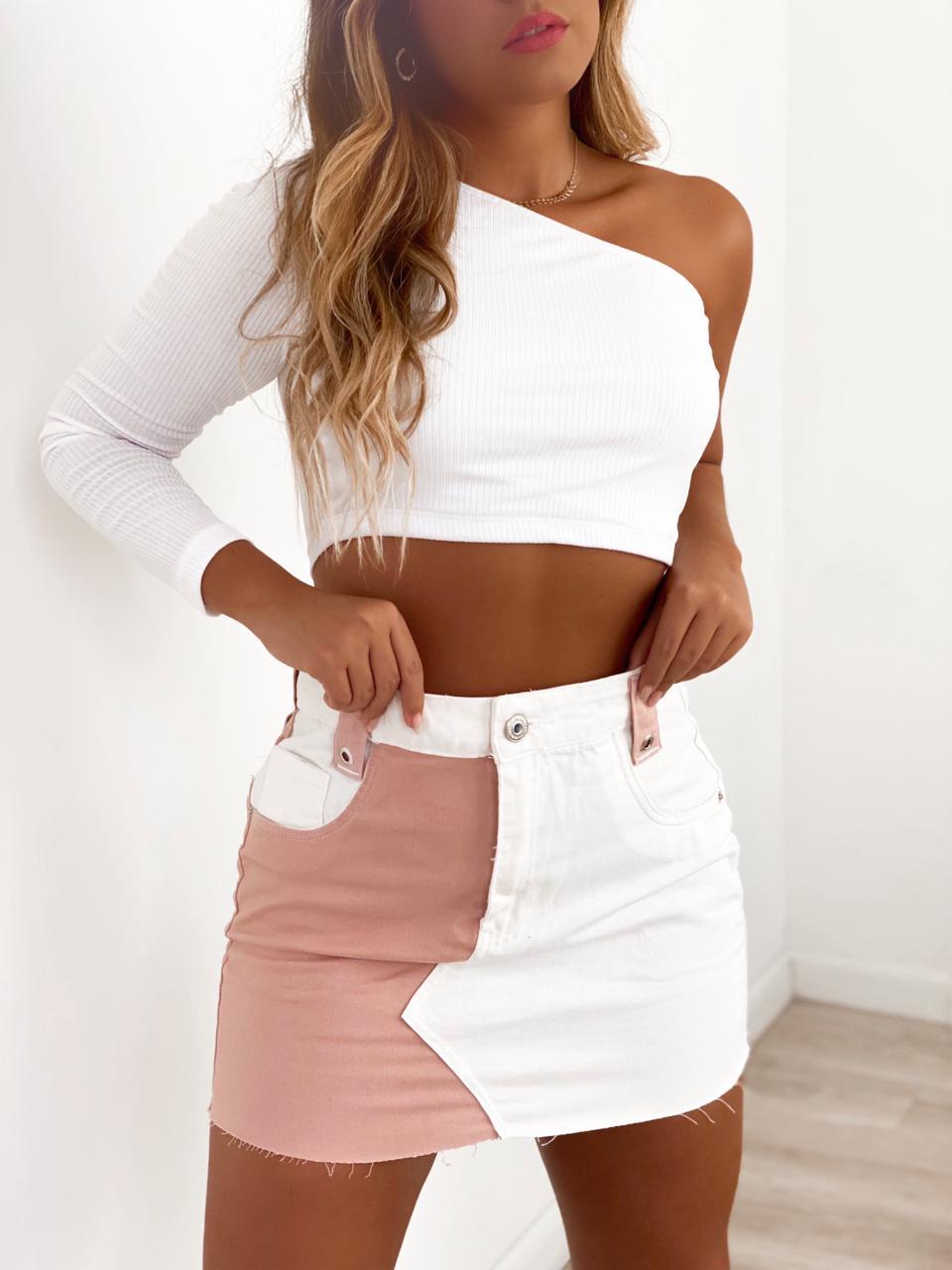 Saia Jeans Duo Color