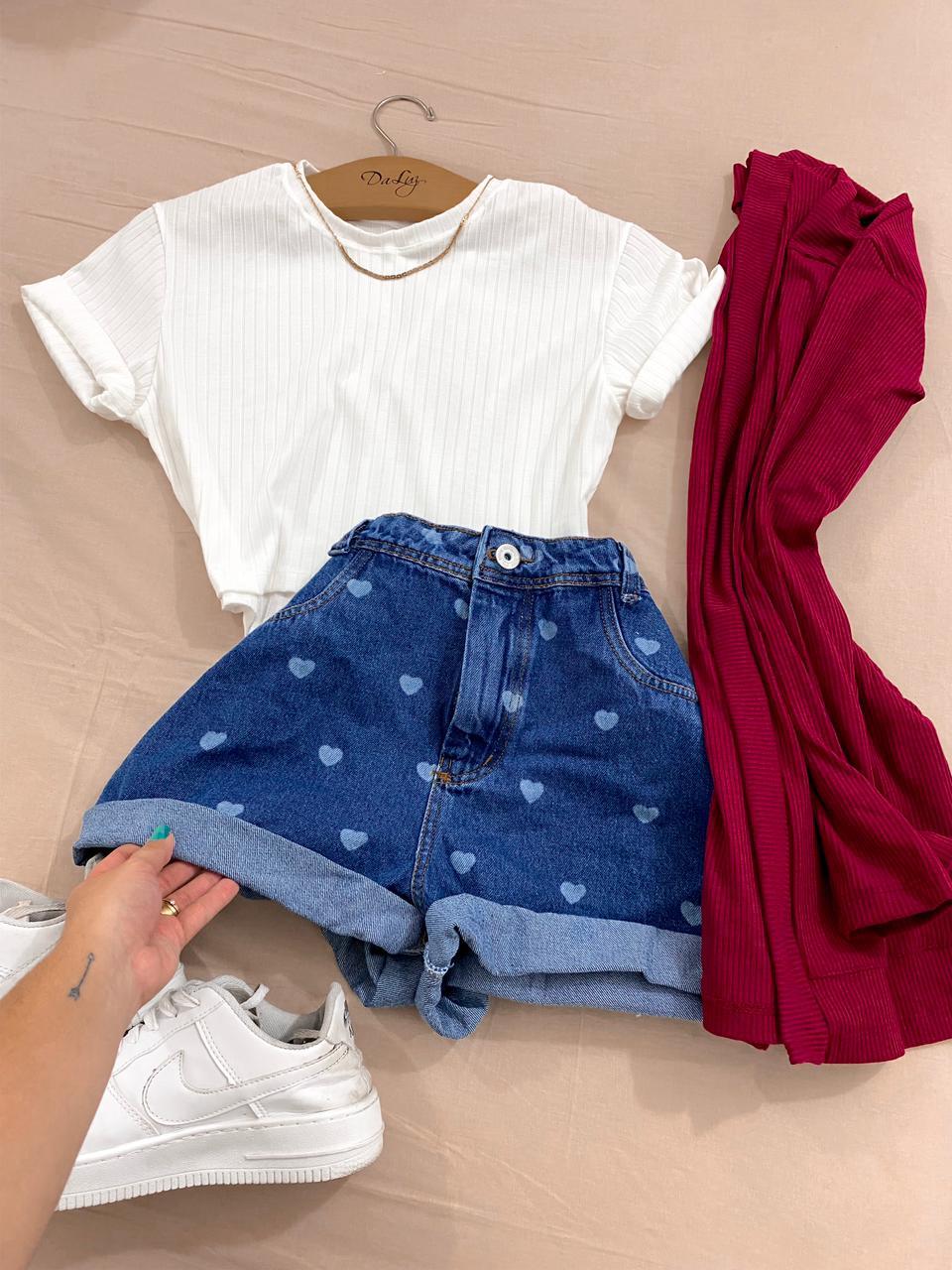 Short Jeans Corações