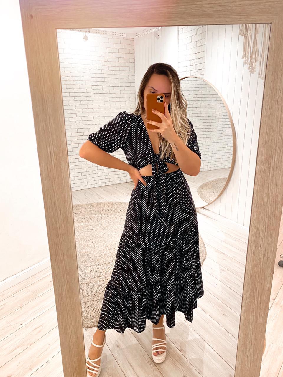 Vestido Longo Poá Marcela