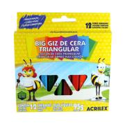 BIG GIZ DE CERA TRIANGULAR 12 UNIDADES ACRILEX
