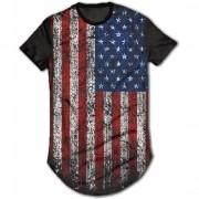 Camisa Long Line Personalizada - Bandeira EUA