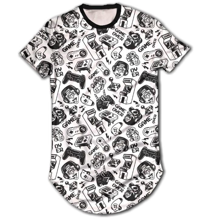 Camisa Long Line Personalizada - Game Over