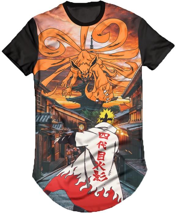Camisa Long Line Personalizada - Naruto