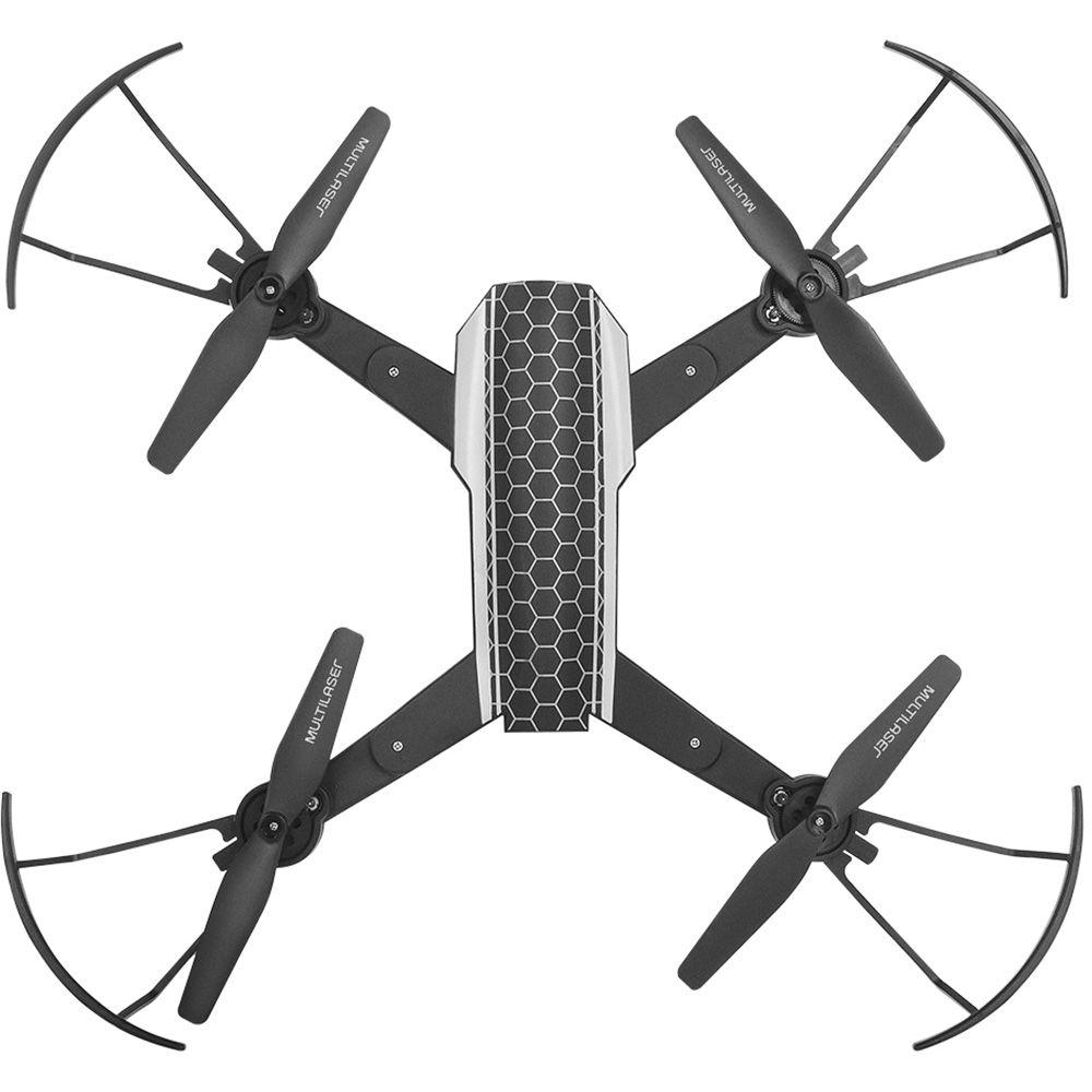Drone Shark c/ Câmera HD, Wi-Fi e Controle c/ Suporte p/ Smartphone Preto ES177 Multilaser CX 1 UN