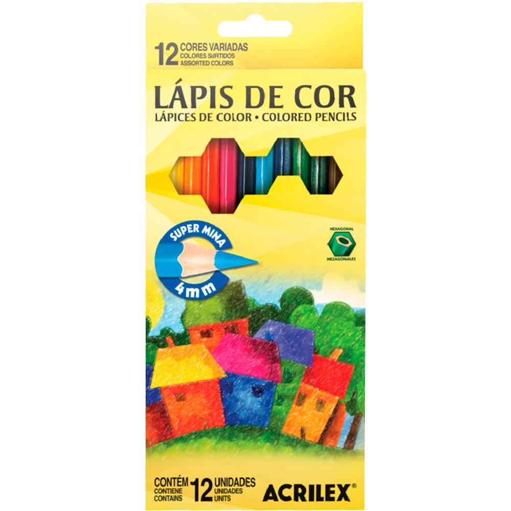 Lápis de Cor Acrilex Hexagonal 12 Cores