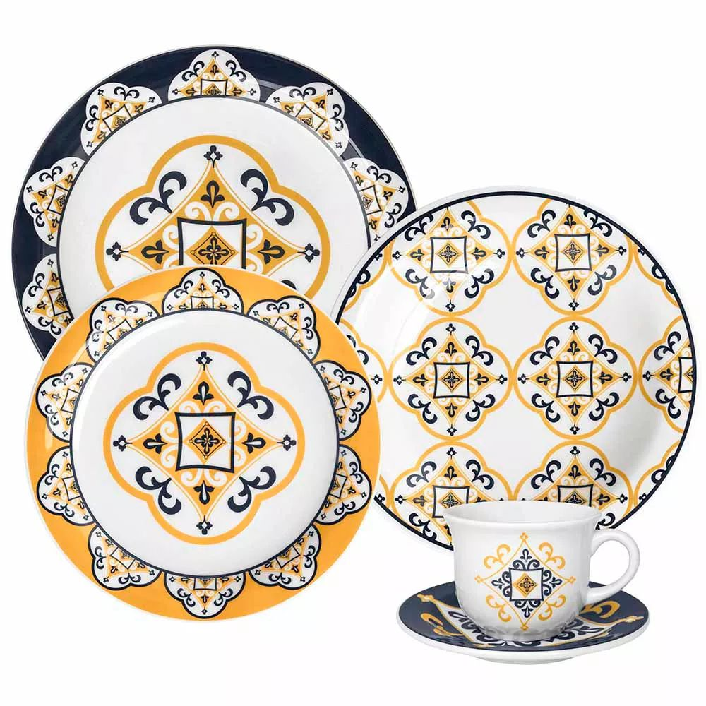 Aparelho de Jantar e Chá Oxford Floreal São Luís 30 Peças
