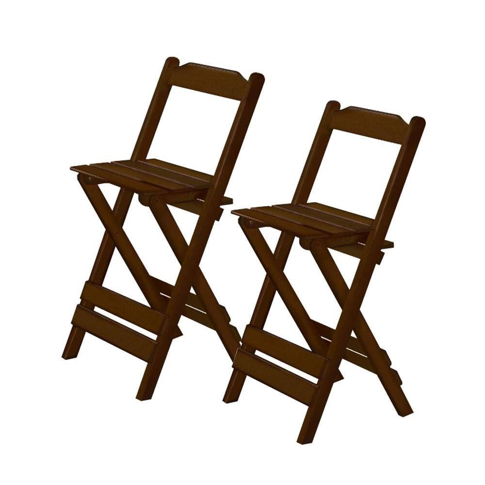 Conjunto Bistrô Mesa Dobrável Maplan Madeira Cor Imbuia com Duas Cadeiras
