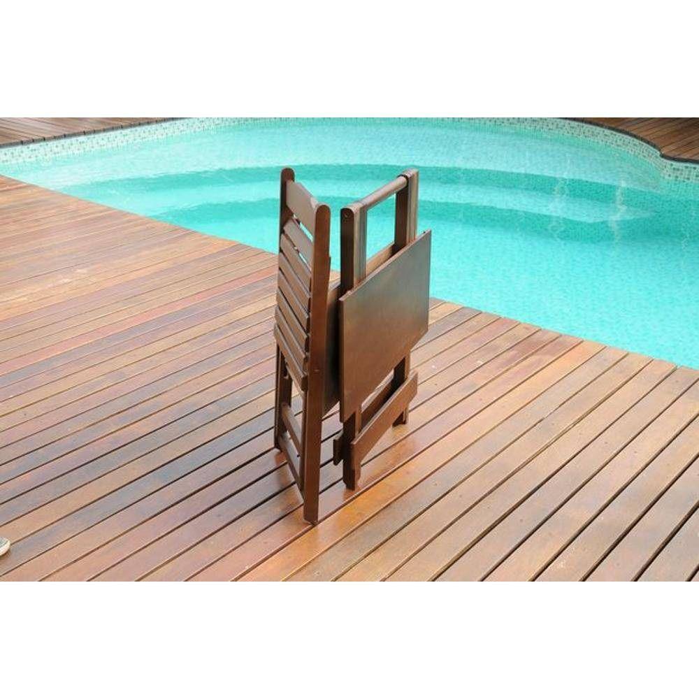 Conjunto Mesa e Cadeiras Dobrável Madeira Cor Imbui Maplan 70cmx70cm