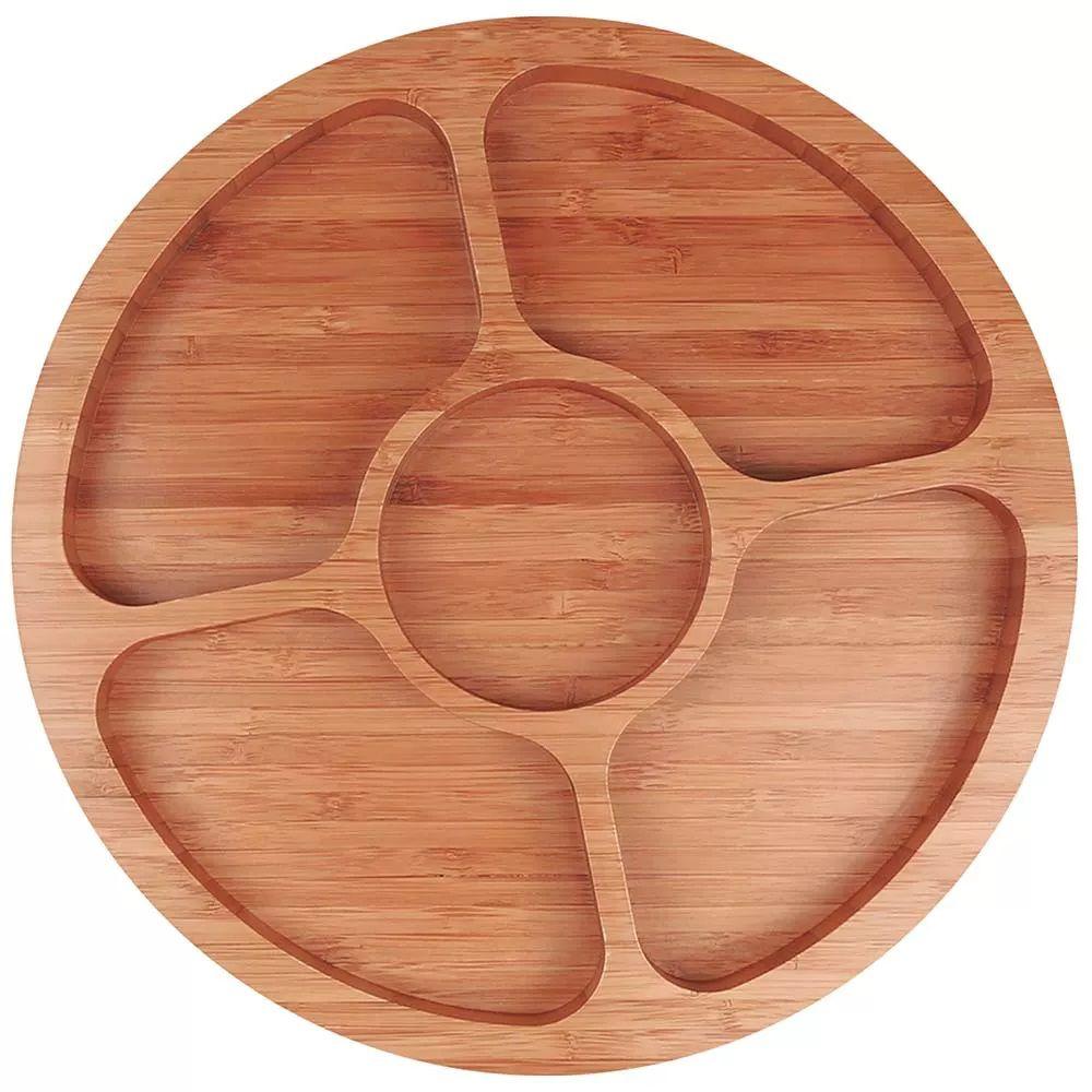 Gamela de Bamboo Mor com 5 Divisórias