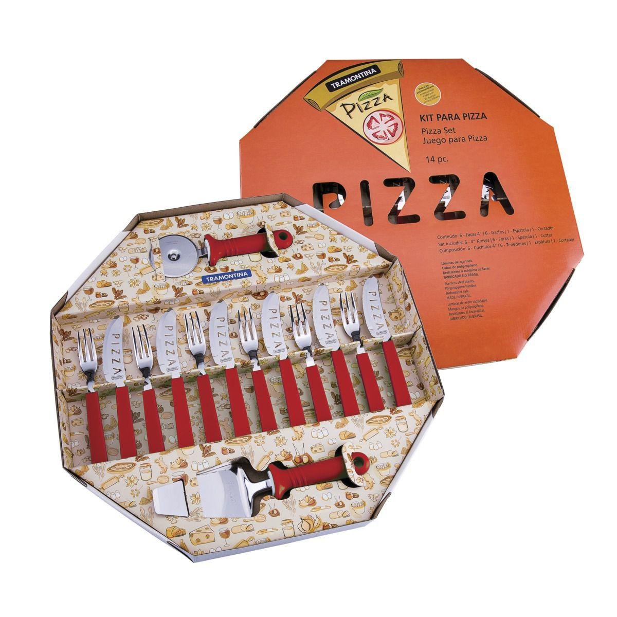 Kit Pizza Inox Tramontina Vermelho 14 Peças