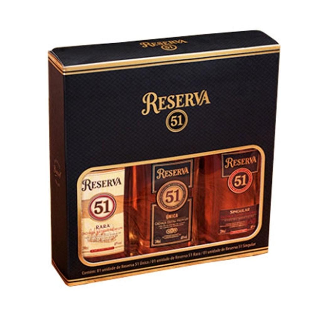Kit Cachaça Reserva 51 Extra Premium  3 Garrafas 200ml