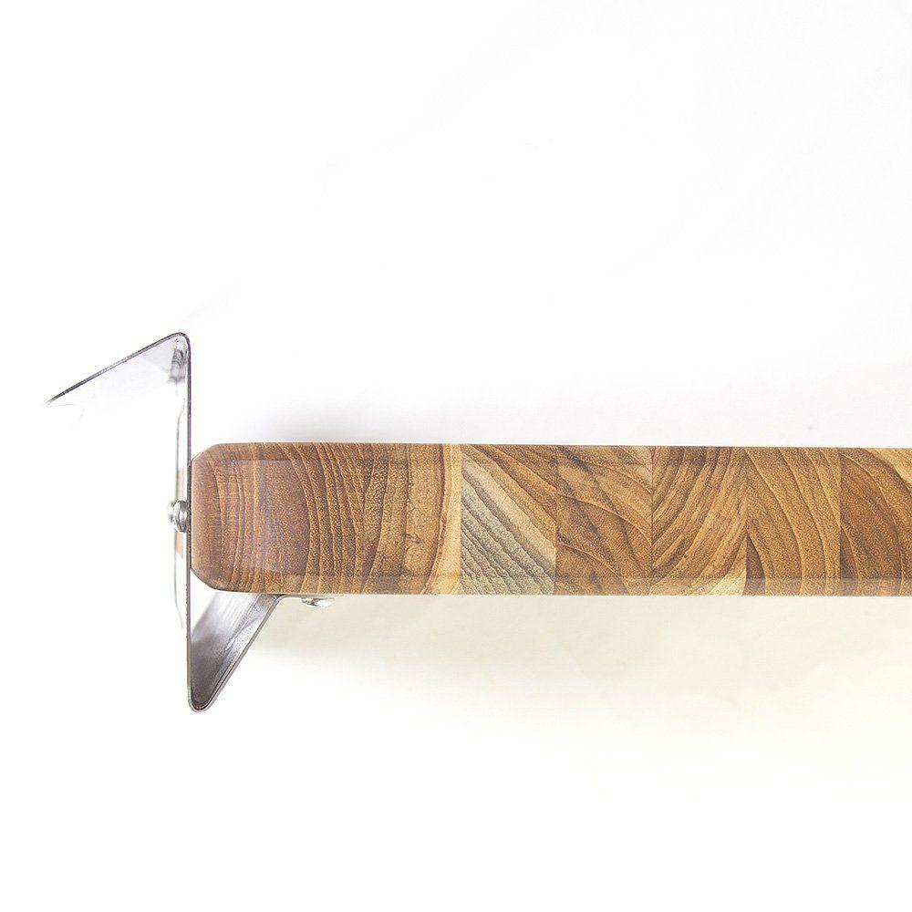 Tábua em Madeira Teca com Alça Aço Inox Maxx Diamond 87cm X 40cm