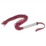 Chicote em Couro Cabo Inox Leather Pre Vermelho 75 cm -  A Sós