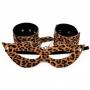 Kit Tiazinha Mascara e Algema Bracelete de Pelúcia Leopardo com Corrente - Dominatrixx