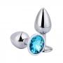 Plug Anal Luxo em Metal - Pedra Azul Claro