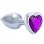 Plug Anal Luxo em Metal - Pedra Coração Roxo