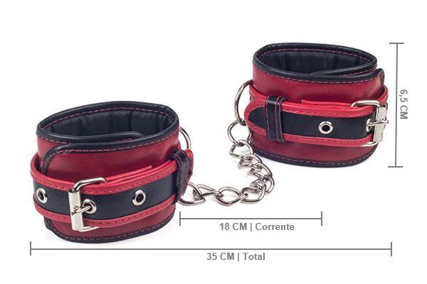 Algema em Couro com Corrente Leather Vermelho e Preto - A Sós