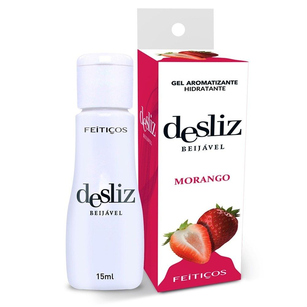 Gel Beijavél Hidratante Morango Desliz  15 ml - Feitiços