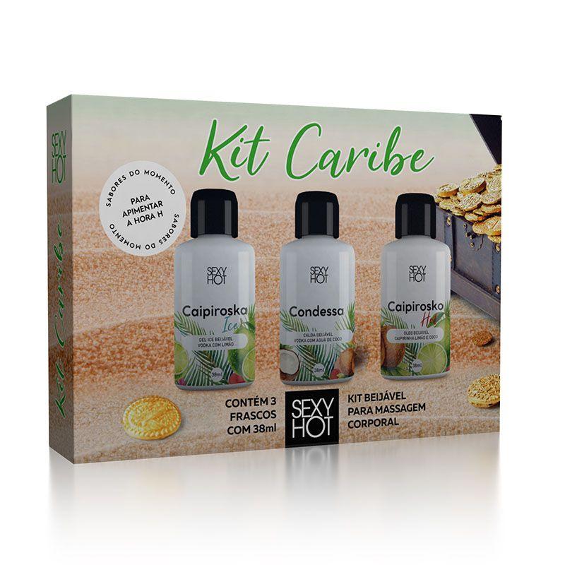 Kit Caribe com 3 Geis Beijáveis - Sexy Hot