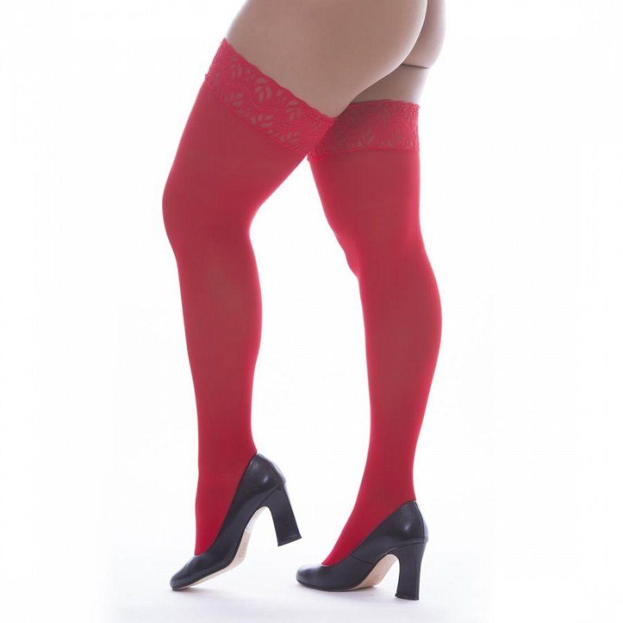 Meia Fina 7/8 com Renda - Vermelha