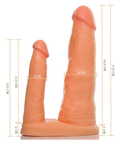 Pênis Duplo Maciço 16,5x 4,0cm e 11,5x2,0xm - A Sós