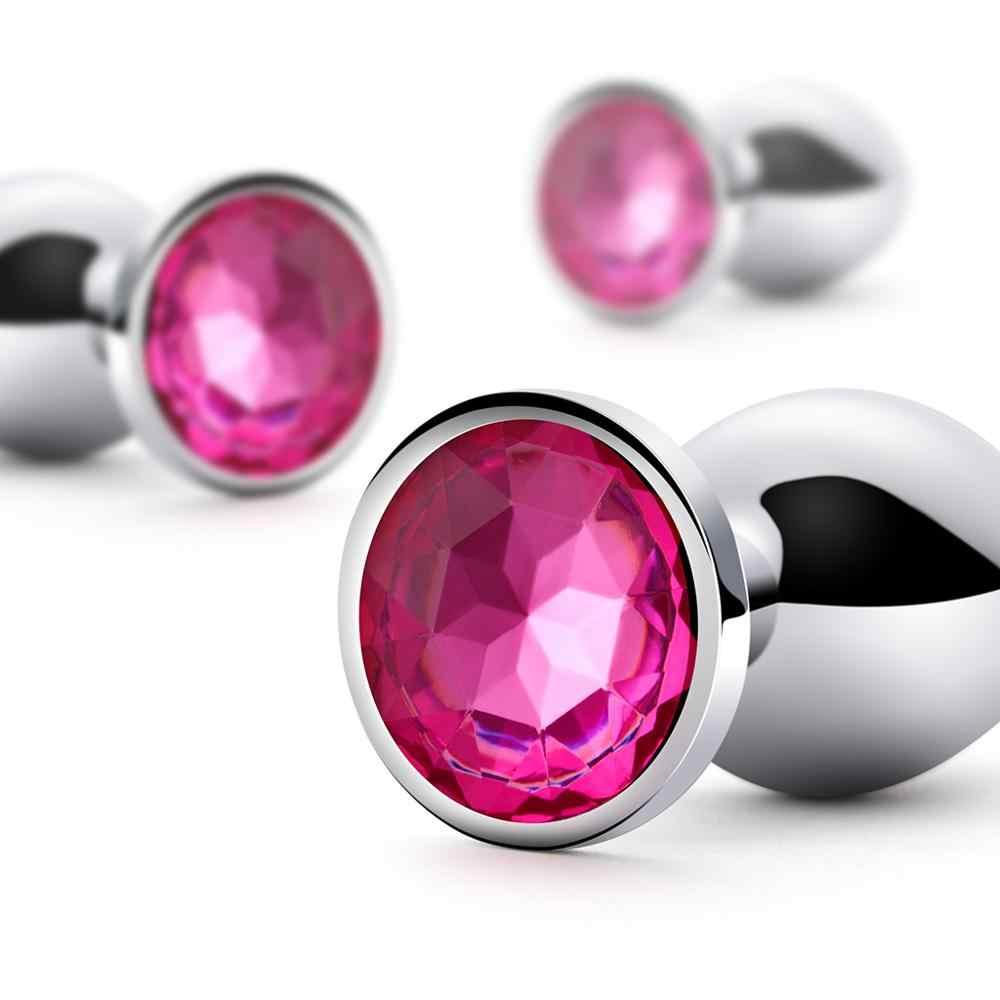 Plug Anal de Metal Cromado Butt Pedra Rosa - A Sós
