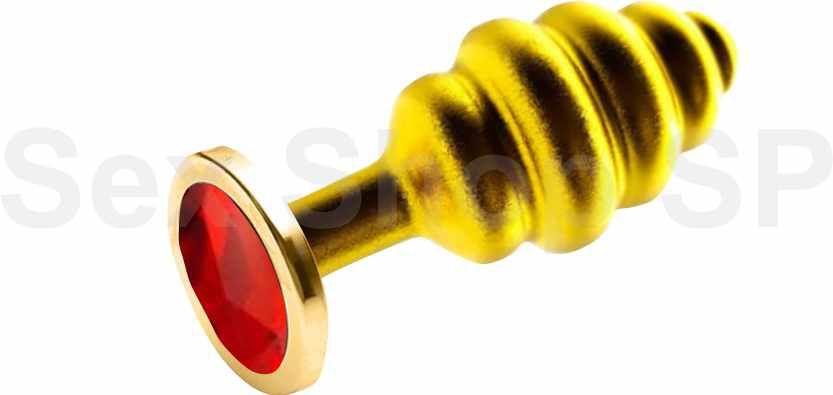 Plug Anal Dourado Lust Metal Hive Pug Vermelho- Adão & Eva